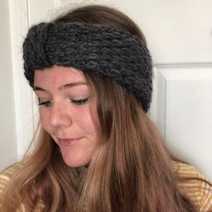 Gray Knit Beanie Headband
